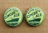2 rare MARINE CLUB GINGER ALE soda cork lined Quebec bottle caps FREE SHIPPING!
