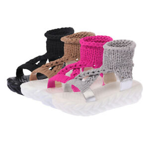 Womens Pu Open Toe Flat Sandals Slip-On Platform Knitted Casual Fashion Slippers