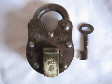 Old Heavy iron and Brass PadLock Collectible trick or puzzle with key