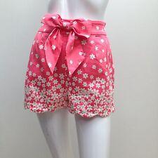 Forever New sz 8 Pretty Peach w Daisy Print Scollop Edge Dress Style Shorts