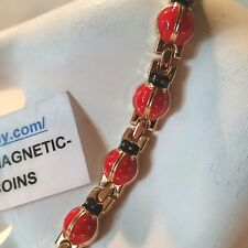 FAT RED & BLACK LADYBUGS ENAMEL MAGNETIC BRACELET PRO HEALTH THERAPY