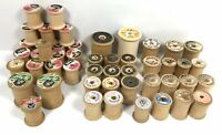Vintage Lot of 49 Empty Wood Thread Spools - Mixed Brands - COATS, TALON, LILY