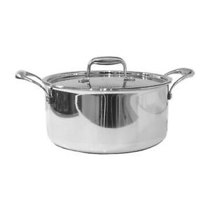 Stainless Steel Tri-Ply Casserole Pot - 24 cm Induction Cookware - Pots and Pans