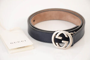 Gucci Kids navy blue S leather silver-tone GG logo buckle waist belt NEW $195