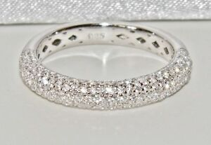 Sterling Silver (925) 3.75mm Stone Set Fancy Eternity / Wedding Band Ring size S