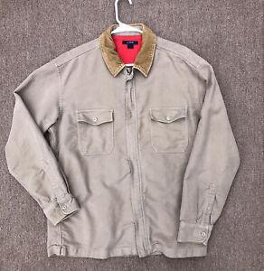 j crew corduroy collar barn shirt jacket tan zip up mens large