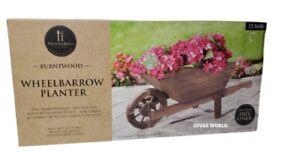 Wooden Wheel Barrow Planter Burnt Wood Flower Cart For Outdoor Garden Home NEW
