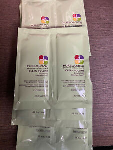 PUREOLOGY CLEAN VOLUME Shampoo & Conditioner - 5 SAMPLE PACKS OF EACH