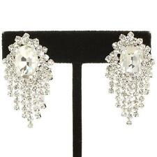 Clip on earrings diamante rhinestone clear sparkly bridal prom party bling 361