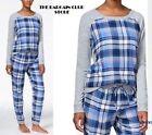 Jenni Pajama Top Long-Sleeve Plaid-Panel /Heart-Appliq Pajama Top