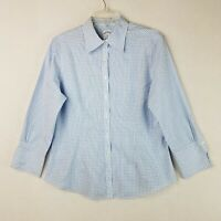 Brooks Brothers 346 Womens Size 10 Blue White Check Button Up Top Long Sleeve