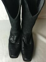 Los Altos Teju Boots 9.5 D Cowboy Genuine Black Leather Lizard Skin Squared Toe