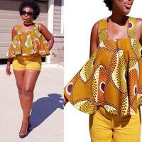 Casual Fashion Women Beach African Print Sleeveless Top Strapless Blouse T Shirt