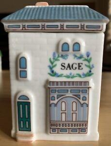 Lenox Spice Village Fine Porcelain Jar SAGE Cottage 1989 MINT