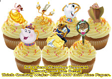 18X LARGE Beauty and the Beast stand up Party cupcake toppers birthday cake
