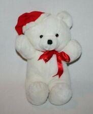 "Vintage 1979 Dakin Plush Teddy Bear 14"" Arms Up Cuddles White Red Santa Hat"
