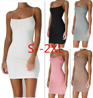 Women Short Club Package Hip Spaghetti Strap Stretchy  Bodycorn Cami Mini Dress