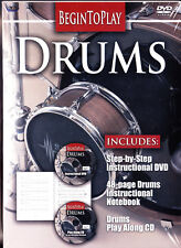 Begin to Play: Drums (DVD, 2008) DVD , CD and Notebook NEW
