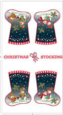 a Snow Family Christmas Holiday Stockings Snowmen Sewing Cotton Quilting Fabric