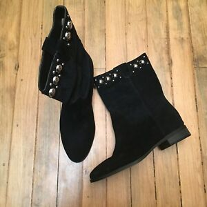 MICHAEL KORS HAYES  MID BLACK SUEDE STUDDED BOOTS NWOB SIZE 7.5