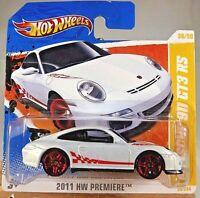 2011 Hot Wheels #36 HW PREMIERE 36/50 PORSCHE 911 GT3 RS White VariantSHORT CARD