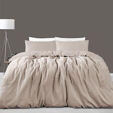 Queen Quilt Cover Doona Set Linen Cotton Taupe 225 TC RRP $249