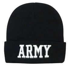 Embroidered US Army Military Black White Beanie Stocking Watch Cap Hat Licensed