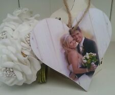 Personalised photo wooden heart keepsake shabby sign plaque chic gift