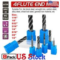 8Pcs Flute End Mill Drill Bits 4 TiAlN HSS Coated Carbide Slot 1/16''-1/2'' US
