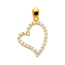 14K Real Yellow Gold Open Heart CZ Pendant For Girls Women  Real Gold Pendant