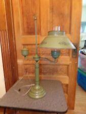 Vintage Mid Century Modern Retro Tole Toleware Table Desk Lamp Colonial Green