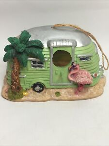 Vintage Decorative Birdhouse Camper Van Beach Tropical Flamingo Resin
