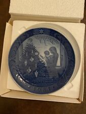 Royal Copenhagen 1981 blue collectible Christmas Plate with original box