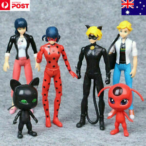 6pcs Miraculous Ladybug Tikki Noir Cat Plagg Adrien Action Figures Doll Toys Set