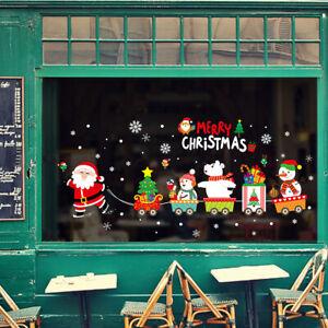 Christmas Glass Window Stickers Decal Santa Snowman Train Xmas Party Wall Decor