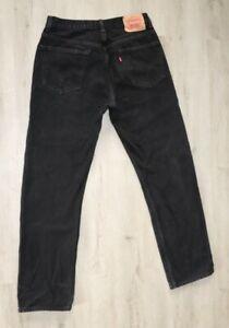 Levi's Men's Size 34x32 505 Regular Fit Straight Leg Denim Jeans Black Washed