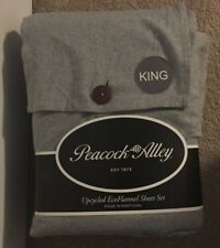 Peacock Alley Blue Gray Heather Upcycled EcoFlannel King 4 Pc Sheet Set NWT