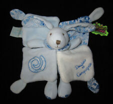 Doudou & Compagnie carré Lapin pantin bleu et blanc Tatoo spirale