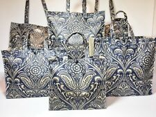 Handmade,100% Oilcloth Cotton Bags, Hathaway in Navy with Plain Taupe Gusset