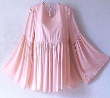 NEW~$148~Blush Peach Pink Empire Peasant Blouse Shirt Boho Top~12/14/L/Large
