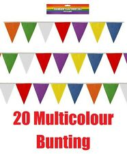 20 Flag Multicolour Bunting Garland Wedding Banner Party Prop Easter Plastic
