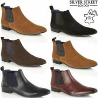 Mens Leather Chelsea Boots Ankle Smart Formal Slip On Desert Work Boots Shoes