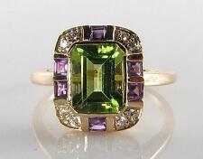 LARGE 9K 9CT GOLD PERIDOT AMETHYST DIAMOND ART DECO INS RING FREE RESIZE
