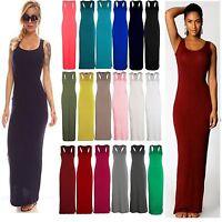 Lz06 Women Long Jersey Sleeveless Maxi Summer Dress Vest Racer Muscle Back Maxi
