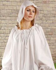 C1049 100% Cotton White Ladies Medieval Chemise Headcap with strap