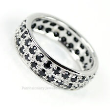 Black CZ Eternity Ring 925 Sterling Silver Cubic Zirconia Wedding Band 1/2 Sizes