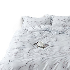 Wake In Cloud - Marble Duvet Cover Set, 100% Cotton Bedding, Black White and