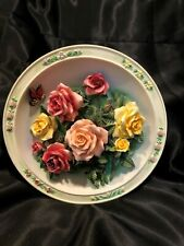 3D Bradford Exchange Beautiful Gardens Ceramic Plate - The Rose Garden