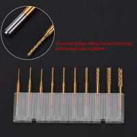 10pcs 1/8'' 0.8-3.175mm PCB Drill Bit Engraving Cutter End Mill Titanium Coated