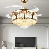 """42""""Luxury Gold Crystal Chandelier Remote Invisible Ceiling Fan LED Lamp Lighting"""